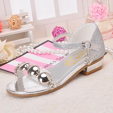 baratos Sapatos de Criança-Para Meninas Glitter Sandálias Little Kids (4-7 anos) / Big Kids (7 anos +) Inovador / Sapatos para Daminhas de Honra Lantejoulas / Tachas / Presilha Dourado / Prata / Rosa claro Primavera / Verão