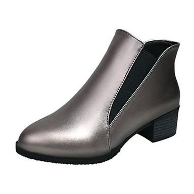 Tacón el Hasta Mujer 06590749 Champaña Confort de Invierno PU Moda Negro Tobillo Otoño Botas Botines Cuadrado Botas xPqxr8w7