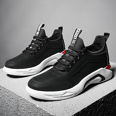 בגדי ריקוד גברים דמוי עור / טול סתיו / חורף נוחות נעלי ספורט הליכה שחור / אפור / אדום