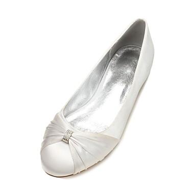 Mujer Zapatos Satén Primavera Confort / Bailarina Zapatos de boda Tacón Plano Punta abierta Pedrería / Purpurina Azul / Champaña / Marfil 2018 Fraîche Lv8Ztr