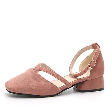 Mulheres Sapatos Couro Ecológico Verão Conforto Chinelos e flip-flops Caminhada Salto Robusto Ponta Redonda Vazados para Casual Preto