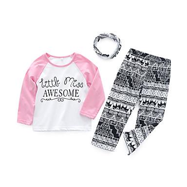 בנות יום יומי כותנה מכנסיים - קולור בלוק דפוס לבן / פעוטות