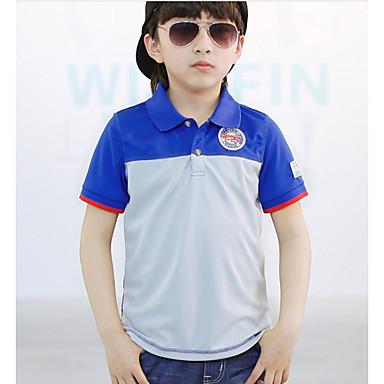 baratos Camisas para Meninos-Bébé Para Meninos Casual Diário Escola Estampa Colorida Manga Curta Camisa Azul