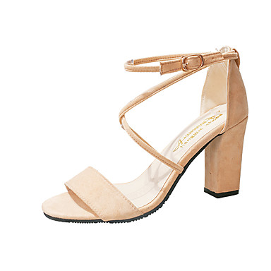 Women's Shoes PU(Polyurethane) Spring / Summer Comfort / Basic Pump Heels Chunky Heel Round Toe Black / Pink / Almond / Party & Evening