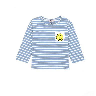 Brzdąc Dla chłopców Prążki Nadruk Długi rękaw Bawełna T-shirt / Śłodkie
