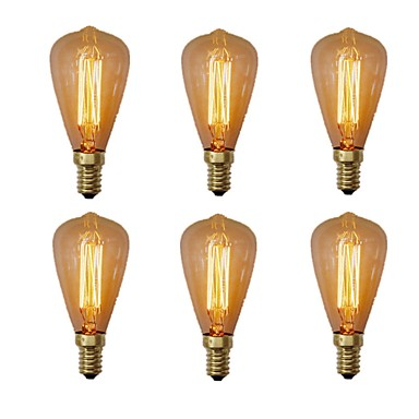 abordables Incandescent-6pcs 40W E14 ST48 Blanc Chaud 2200-2700 K Rétro Intensité Réglable Décorative Ampoule incandescente Edison Vintage 220-240V V