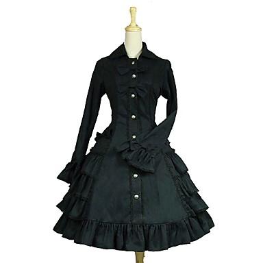 לוליטה גותי לוליטה קלאסית ומסורתית רוקוקו בגדי ריקוד נשים שמלות Cosplay שחור בלון\מנופח שרוול ארוך באורך  הברך תחפושות