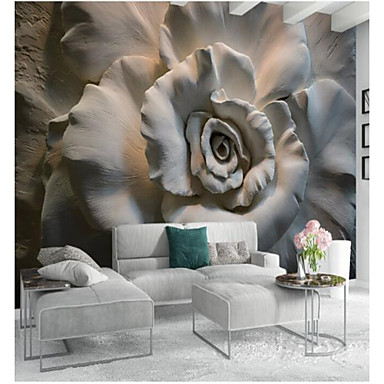 cheap Wallpaper-Floral Art Deco 3D Home Decoration Classic Modern Wall Covering, Canvas Material Adhesive required Mural, Room Wallcovering
