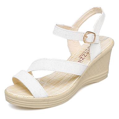49bdc259064d Women s Wedge Heels PU(Polyurethane) Summer Comfort Sandals Wedge Heel Gold    White   Blue