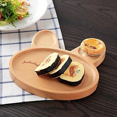 יחידה 1 עץ אשור איכות גבוהה יצירתי מגש צלחות לארוחה, כלי אוכל