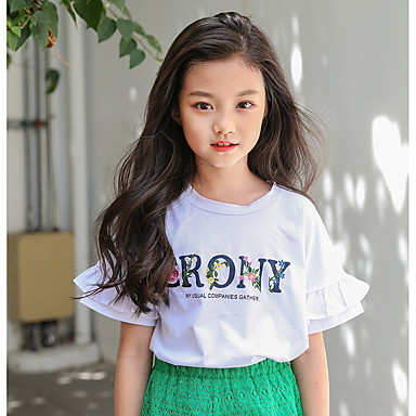 cheap Girls' Tops-Kids Girls' Simple Daily Solid Colored Short Sleeve Cotton Tee White