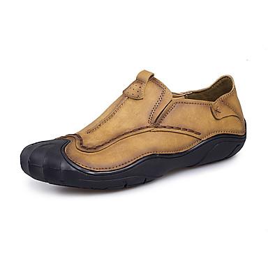Homens sapatos Couro Ecológico Primavera Outono Solados com Luzes Conforto Tênis Cadarço para Casual Festas & Noite Marron Caqui
