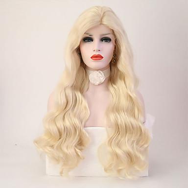 Syntetyczne koronkowe peruki Damskie Falowana Blond Fryzura cieniowana Włosie synetyczne Termoodporny Blond Peruka Długie Siateczka z przodu Jasny blond / Tak