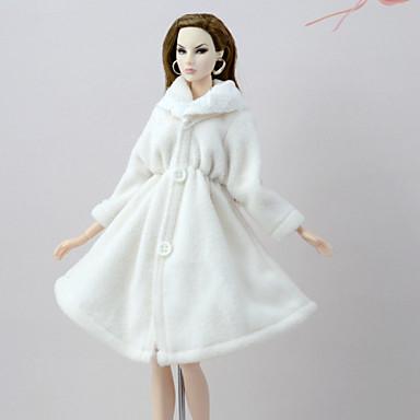 voordelige Poppenaccessoires-Pop Outfit Pop jas Jassen Voor Barbie Wit Flanel Fleece Polyesteri Jas Voor voor meisjes Speelgoedpop
