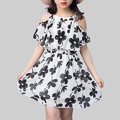 Dzieci Dla dziewczynek Moda miejska Kwiaty Nadruk Krótki rękaw Sukienka