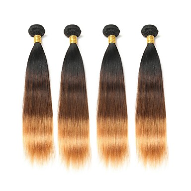 baratos Extensões de Cabelo Natural-4 pacotes Cabelo Brasileiro Liso 8A Cabelo Humano Âmbar 12-28 polegada Âmbar Tramas de cabelo humano Extensões de cabelo humano / Reto