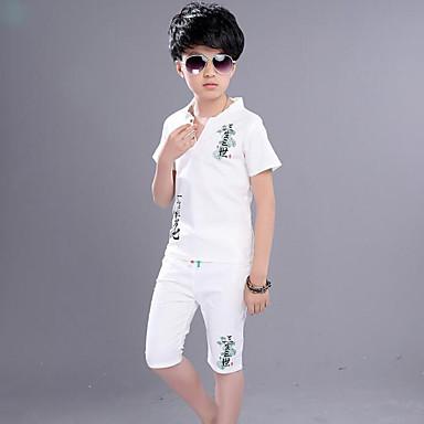 6c9ccb2f0eaea Çocuklar Genç Erkek Günlük Günlük Desen Kısa Kollu Normal Suni İpek Kıyafet  Seti Havuz