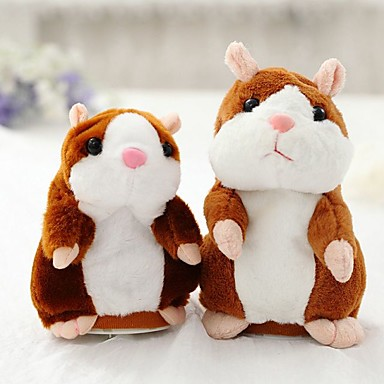 voordelige Knuffels & Pluche dieren-Talking Hamster Muis Hamster Knuffels & Pluche dieren Schattig Wandelen pratend Speeltjes Geschenk 1 pcs