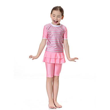 billige Badetøj til piger-Børn Pige Boheme Sport Farveblok Klassisk Stil Kort Ærme Polyester Nylon Spandex Badetøj Lyserød