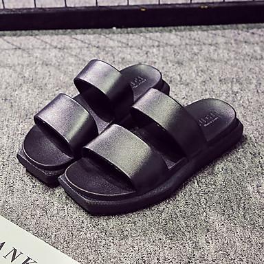 Pantofle męskie Kapcie Zwyczajny Skóra PVC Jednokolorowe