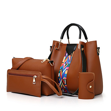 368a04adbb Γυναικεία Τσάντες PU Σετ τσάντα 3 σετ Σετ τσαντών Βολάν   Σε επίπεδα  Κεντήματα Ανθισμένο Ροζ   Γκρίζο   Καφέ   Τσάντα Σετ