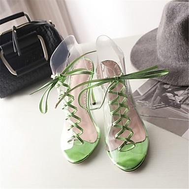 Evénement Aiguille ouvert Eté Bout Matières Sandales 06600572 Personnalisées Nouveauté amp; Vert Femme Chaussures Talon Printemps Rouge Soirée SCRnZp