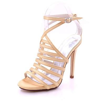 Mujer Zapatos Satén Primavera / Verano Pump Básico Sandalias Tacón Stiletto Puntera abierta Pedrería / Hebilla Rojo / Champaña / Marfil MbT57