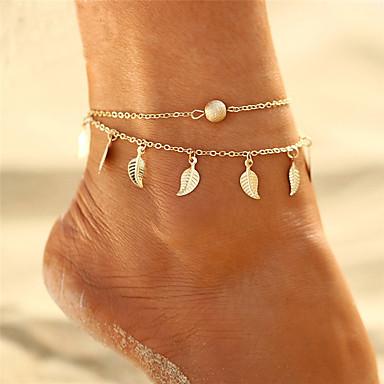 voordelige Lichaamssieraden-Dames Meerlaags Enkelring  voeten sieraden Bladvorm Sierlijk Dames Bohémien Bikini Boho Enkelring  Sieraden Goud / Zilver Voor Lahja Avond Feest