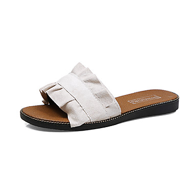 Mulheres Sapatos Couro Ecológico Verão Conforto Sandálias Sem Salto Dedo Aberto Miçangas / Vazados Branco / Preto / Azul Claro