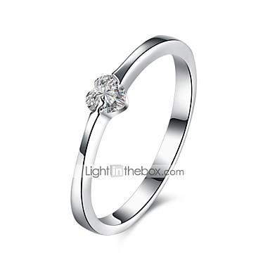בגדי ריקוד נשים טבעת הטבעת - כסף סטרלינג, זירקון, ציפוי זהב קלסי 8 כסף עבור יומי / עבודה