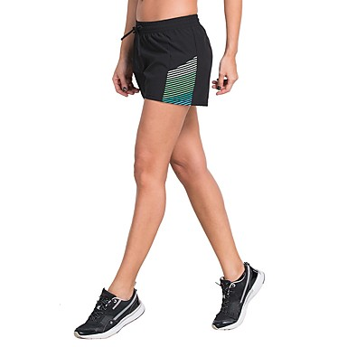 בגדי ריקוד נשים שורט מפוצל לריצה - ירוק, אפור, אדום + כחול ספורט פסים מכנסיים קצרים יוגה, כושר וספורט, חדר כושר לבוש אקטיבי קל משקל, ייבוש מהיר, נשימה