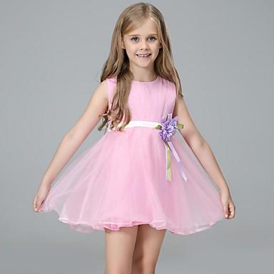 Dzieci Dla dziewczynek Podstawowy Urlop Jendolity kolor Kokarda Długi rękaw Sukienka / Urocza