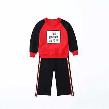 סט של בגדים כותנה פוליאסטר אביב סתיו שרוול ארוך יומי ספורט אחיד פסים דפוס בנות פשוט יום יומי שחור אודם
