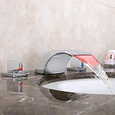بالوعة الحمام الحنفية - شلال LED الكروم واسع الأنتشار مقبضين ثلاثة ثقوب