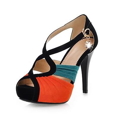 Mujer Zapatos Semicuero Otoño Tira en el Tobillo Sandalias Tacón Stiletto Punta abierta Naranja / Fucsia / Verde / Fiesta y Noche eZDHH