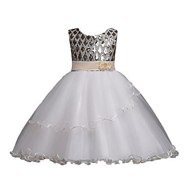 Χαμηλού Κόστους Ρούχα για Κορίτσια-Παιδιά Κοριτσίστικα Απλός Πάρτι Εξόδου Μονόχρωμο Δαντέλα Πούλιες Στάμπα Αμάνικο Μετάξι Πολυεστέρας Φόρεμα Χρυσό / Χαριτωμένο
