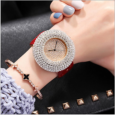 cheap Women's Watches-Women's Luxury Watches Pave Watch Diamond Watch Quartz Genuine Leather Black / White / Red Casual Watch Analog Ladies Casual Fashion Bling Bling - Black Coffee Red
