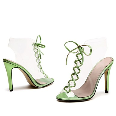 ouvert Rubans Soirée amp; Eté Chaussures Bout Confort Talon Evénement Rouge Similicuir Femme Sandales 06648915 Vert Aiguille 86qwf6HA