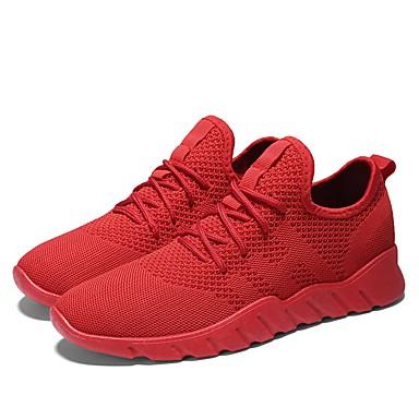 Muškarci Osvjetljenje Pletivo / Mreža Ljeto / Jesen Udobne cipele Sneakers Trčanje Crn / Sive boje / Crvena