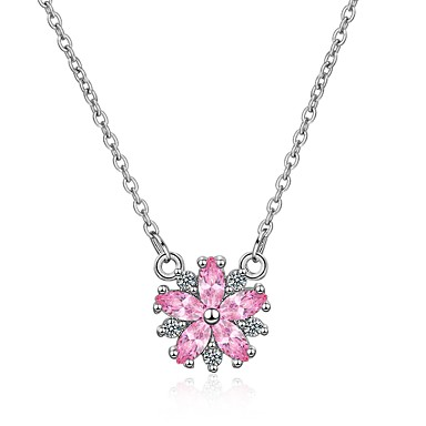 Women's Cubic Zirconia Pendant Necklace Zircon Flower Ladies Korean Fashion Lovely Rainbow 45 cm Necklace Jewelry For Gift Evening Party