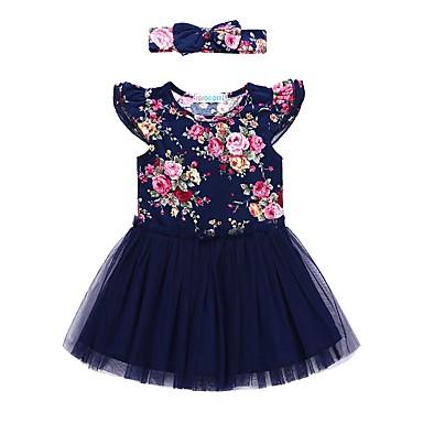 baratos Vestidos para Meninas-Bébé Para Meninas Activo Diário Feriado Floral Com Transparência Manga Curta Vestido Azul Marinha / Algodão / Fofo