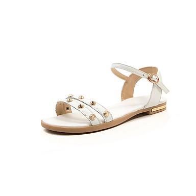 Plat Confort Chaussures Rivet Noir Cuir ouvert Printemps Bout Talon Blanc Sandales Eté Gladiateur Similicuir Boucle 06647085 Femme dUXqxwzX