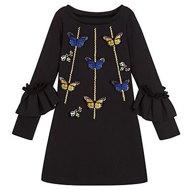 Χαμηλού Κόστους Φορέματα για κορίτσια-Παιδιά Κοριτσίστικα Βασικό Καθημερινά Γεωμετρικό Στάμπα Μακρυμάνικο Πολυεστέρας Φόρεμα Μαύρο