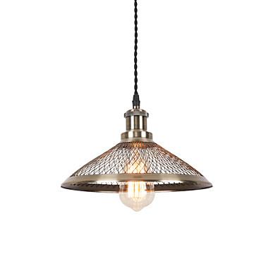 vintage, rustykalny, metalowy brąz, metalowy klosz, lampa wisząca w jadalni, wykorzystanie 1 żarówek e26 / e27