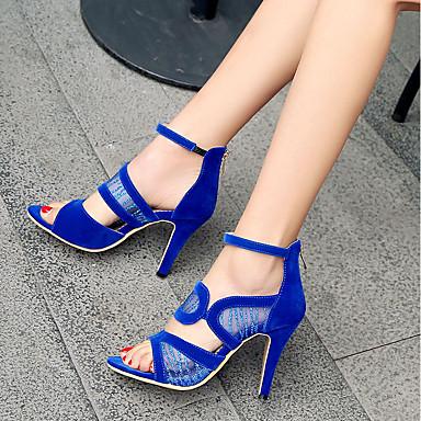 Cuir Noir Aiguille Sandales Rouge Talon Eté ouvert Bride Bleu de Nubuck Cheville Chaussures Dentelle Femme 06637699 Bout UOwHEU