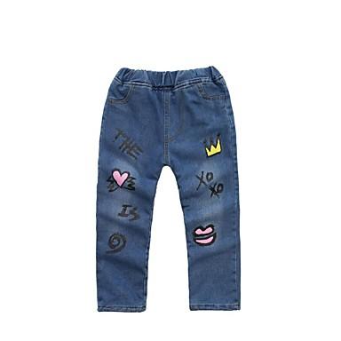 Dzieci Dla dziewczynek Aktywny Święto Kwiaty / Geometric Shape Nadruk Bawełna Jeansy / Śłodkie