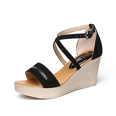 cheap Going to the beach-Women's Shoes Flocking Summer Comfort Sandals Wedge Heel Peep Toe Buckle Black / Wedge Heels