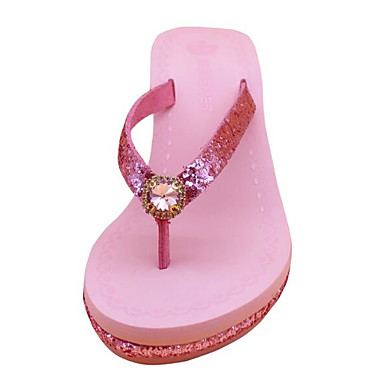 cheap Going to the beach-Women's Slippers & Flip-Flops Wedge Heel PU(Polyurethane) Comfort Summer Black / Silver / Pink