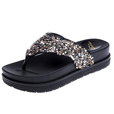 voordelige Damespantoffels & slippers-Dames Slippers & Flip-Flops Creepers Ronde Teen Strass PU Comfortabel Lente Goud / Zwart / Zilver