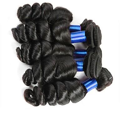 baratos Extensões de Cabelo Natural-6 pacotes Cabelo Mongol Ondulação Larga 8A Cabelo Humano Não processado Cabelo Natural Peça para Cabeça Cabelo Humano Ondulado Cabelo Bundle 8-28 polegada Côr Natural Tramas de cabelo humano Melhor